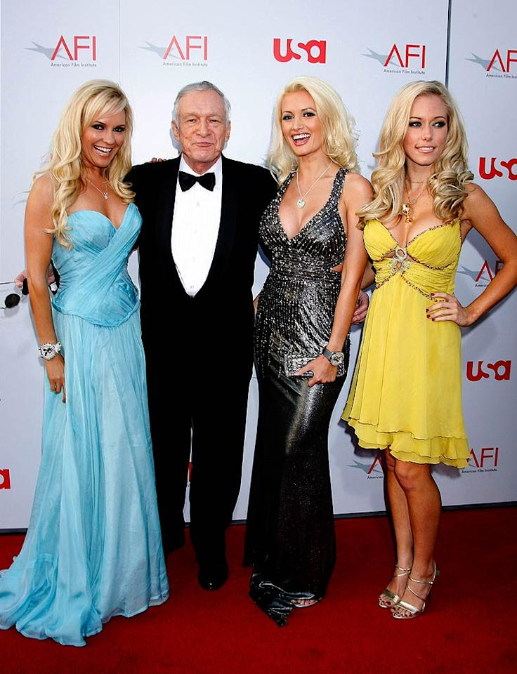 "Hugh Hefner and his blond bombshell brigade impress in classy ensembles upon entering the star-studded event. Jeffrey Mayer/<a href=""http://www.wireimage.com"" target=""new"">WireImage.com</a> - June 12, 2008"