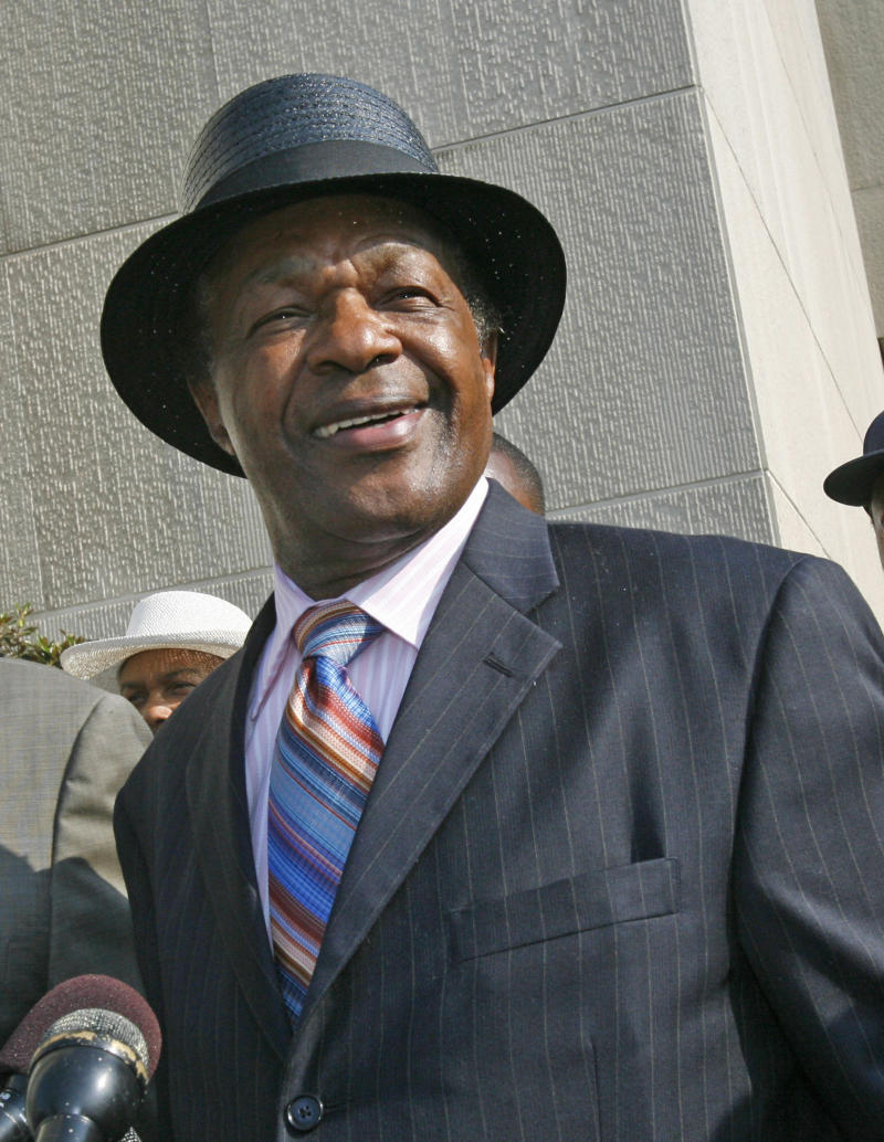 FILE -  In this file photo from  June 13, 2007, former Washington Mayor Marion Barry makes a statement to the media in Washington. Barry, the former four-term District of Columbia mayor whose legacy will always be tainted by his 1990 arrest after being caught on video smoking crack cocaine in an FBI sting operation, in Jan. 2012 he plays the role of elder statesman on the D.C. Council, where he represents a poor, predominantly black ward (AP Photo/Jacquelyn Martin, File)
