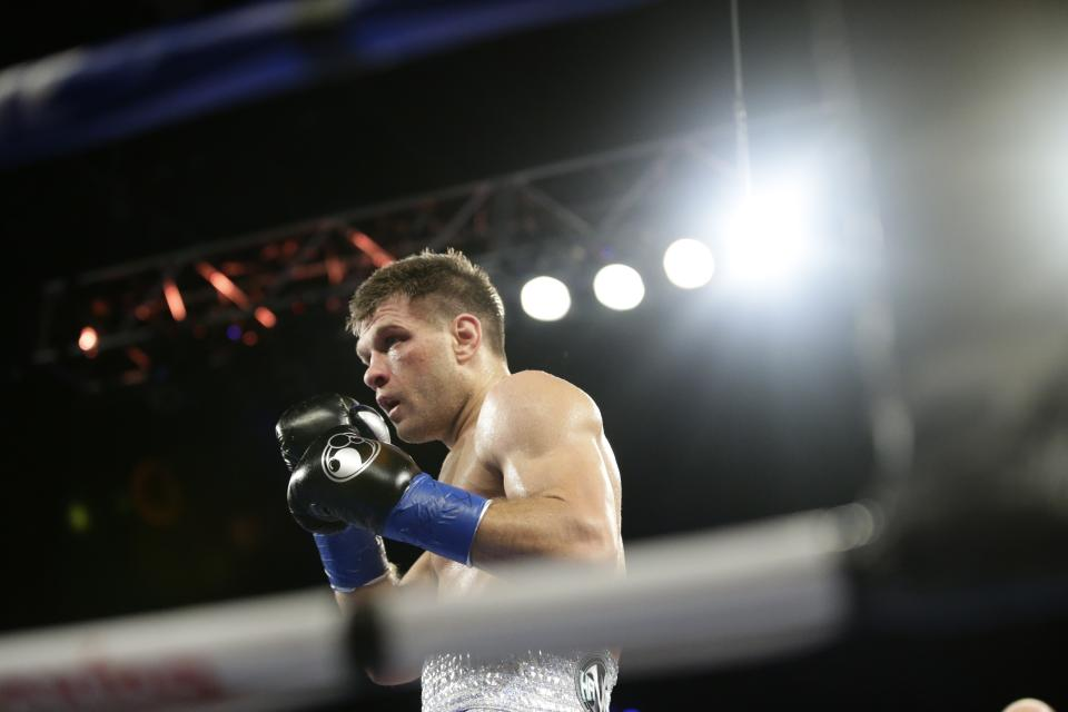 Ukraine's Sergiy Derevyanchenko during the fourth round of a IBF middleweight championship match against Daniel Jacobs Saturday, Oct. 27, 2018, in New York. Jacobs won the fight. (AP Photo/Frank Franklin II)