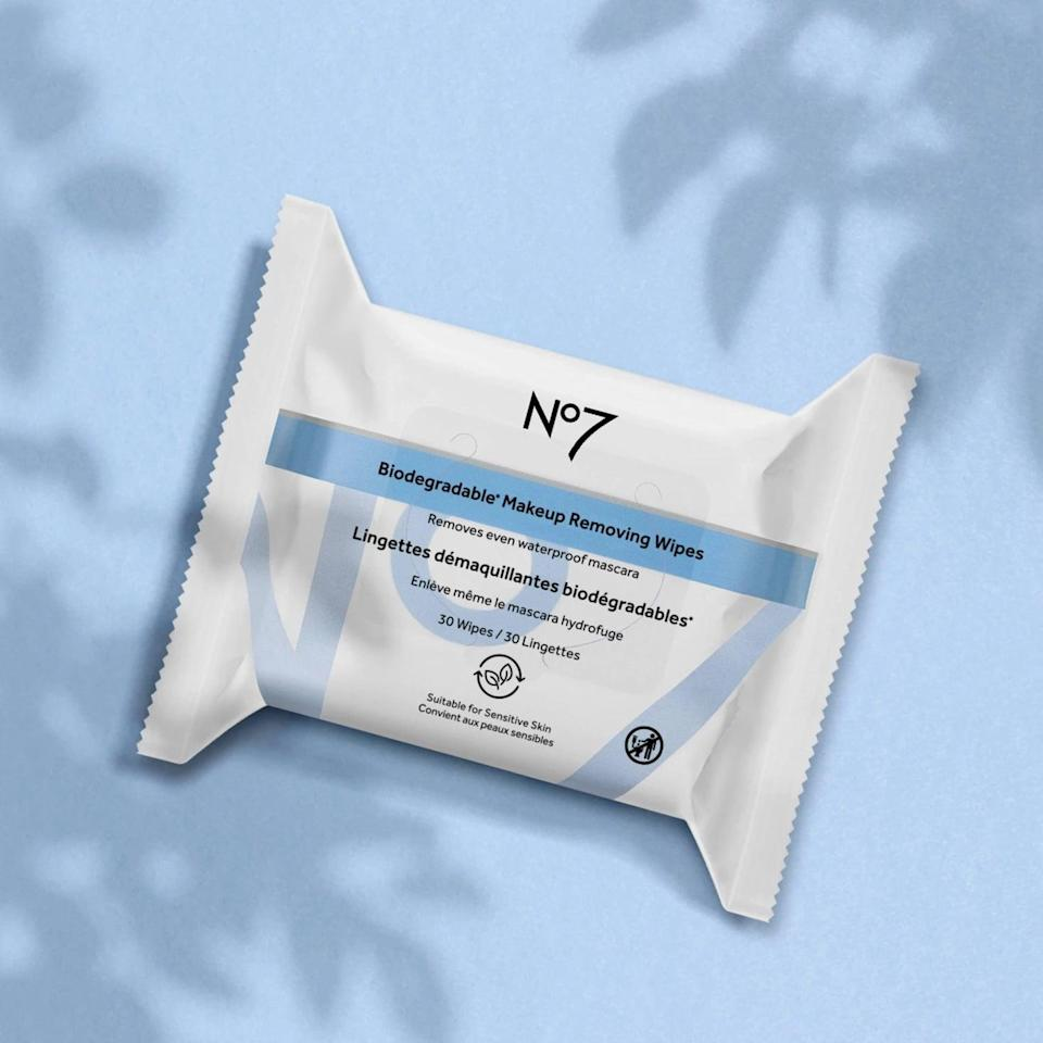<p>The unscented <span>No7 Biodegradable Makeup Removing Wipes</span> ($5) are made from plant-based fibers and hypoallergenic. </p>