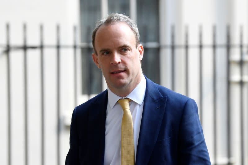 FILE PHOTO: Britain's Secretary of State for Foreign affairs Dominic Raab leaves Downing Street in London, following the outbreak of the coronavirus disease (COVID-19), London