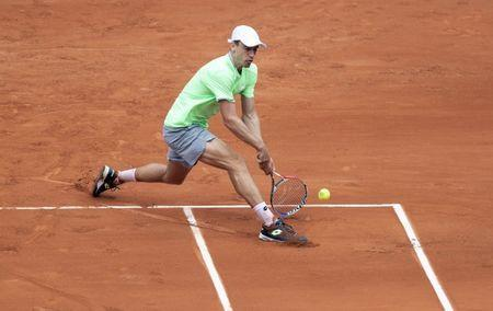 May 28, 2019; Paris, John Millman (AUS) in action during his match against Alexander Zverev (GER) on day three of the 2019 French Open at Stade Roland Garros. Mandatory Credit: Susan Mullane-USA TODAY Sports