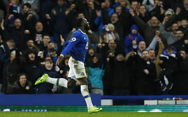 <p>Everton's Romelu Lukaku celebrates scoring their fourth goal </p>