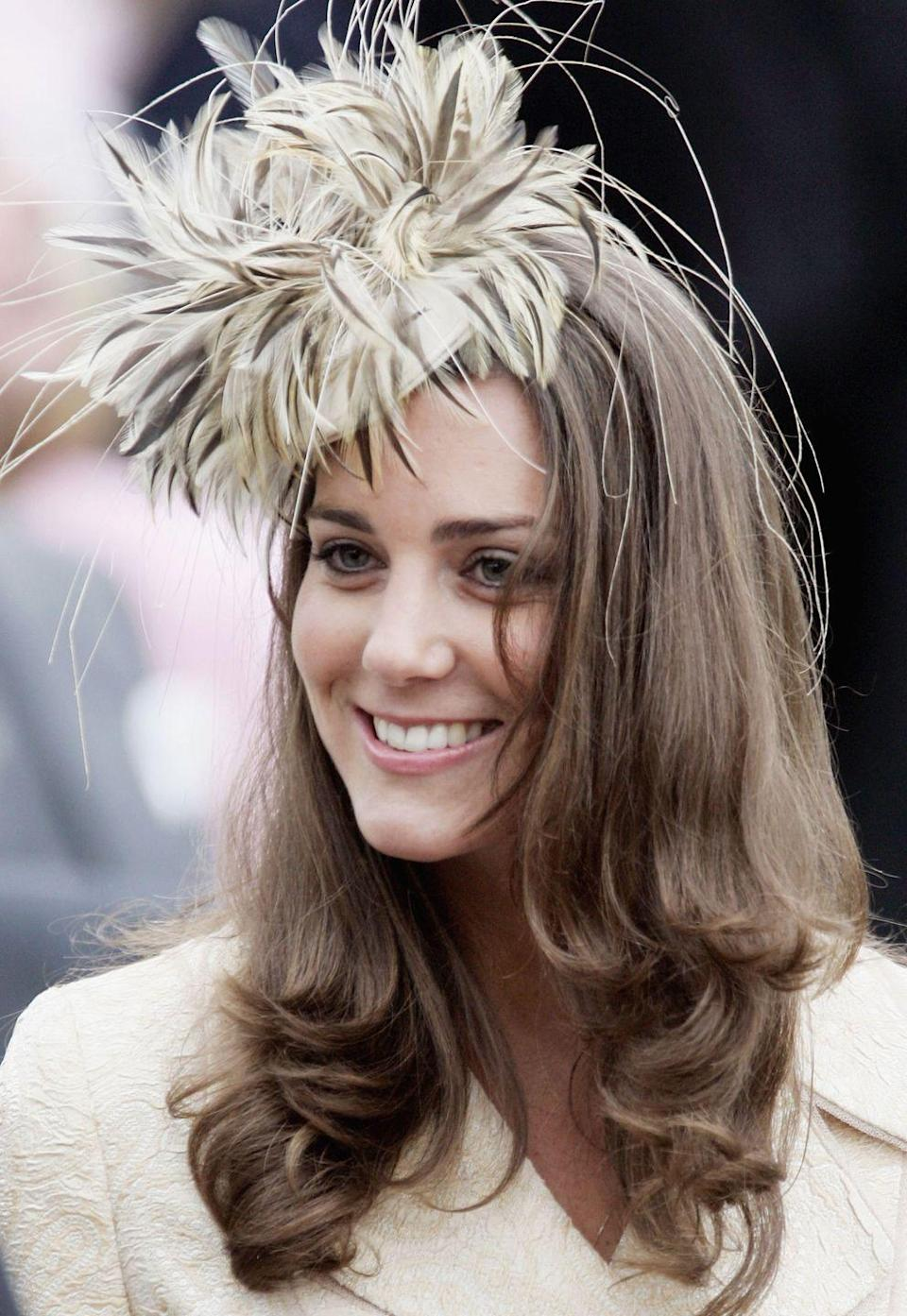 "<p>The future Duchess smiled at the wedding of Laura Parker-Bowles and Harry Lopes in Wiltshire. We like to think this is where <a href=""https://www.townandcountrymag.com/society/tradition/g26799866/kate-middleton-best-hat-moments/"" rel=""nofollow noopener"" target=""_blank"" data-ylk=""slk:Middleton's hat moments"" class=""link rapid-noclick-resp"">Middleton's hat moments</a> began.</p>"