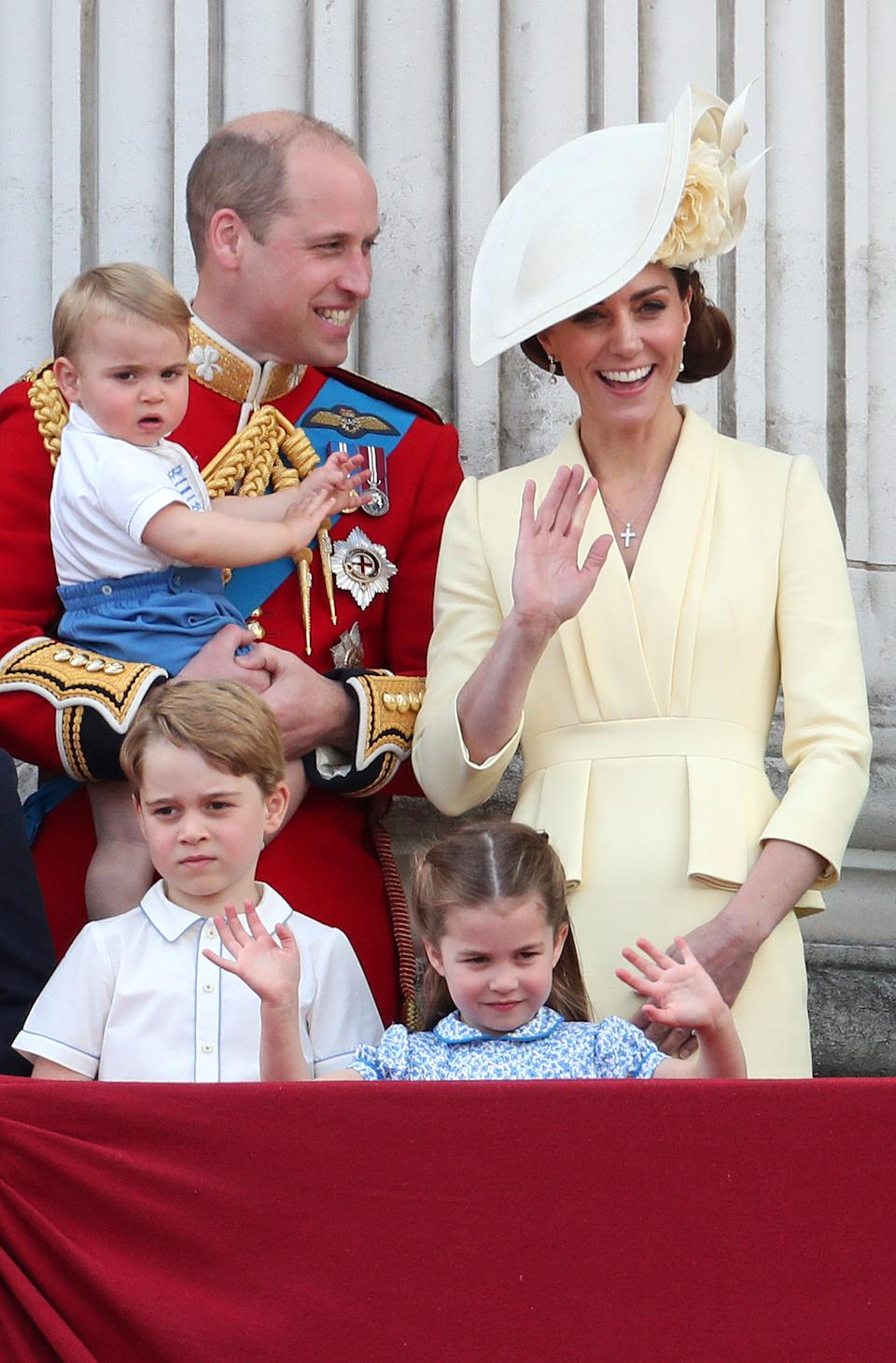 The royal joined his older siblings, George and Charlotte, and parents on the balcony at Buckingham Palace. <em>[Photo: Getty]</em>