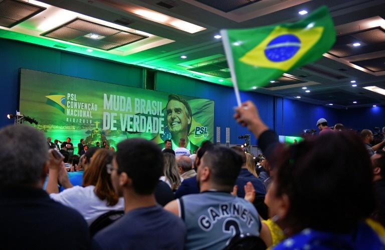 Supporters of far-right Brazilian presidential candidate Jair Bolsonaro at a July rally in Rio de Janeiro