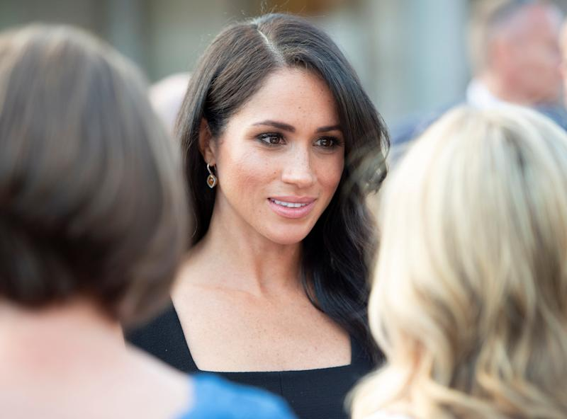 Meghan, Duchess of Sussex, attends a reception at Glencairn, the residence of Robin Barnett, the British ambassador to Ireland, at the start of a two-day visit to Dublin on Tuesday. (POOL New / Reuters)