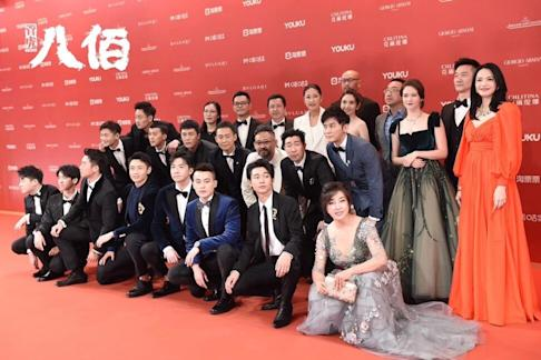 The cast and crew of The Eight Hundred at the Shanghai International Film Festival in July. Photo: Handout