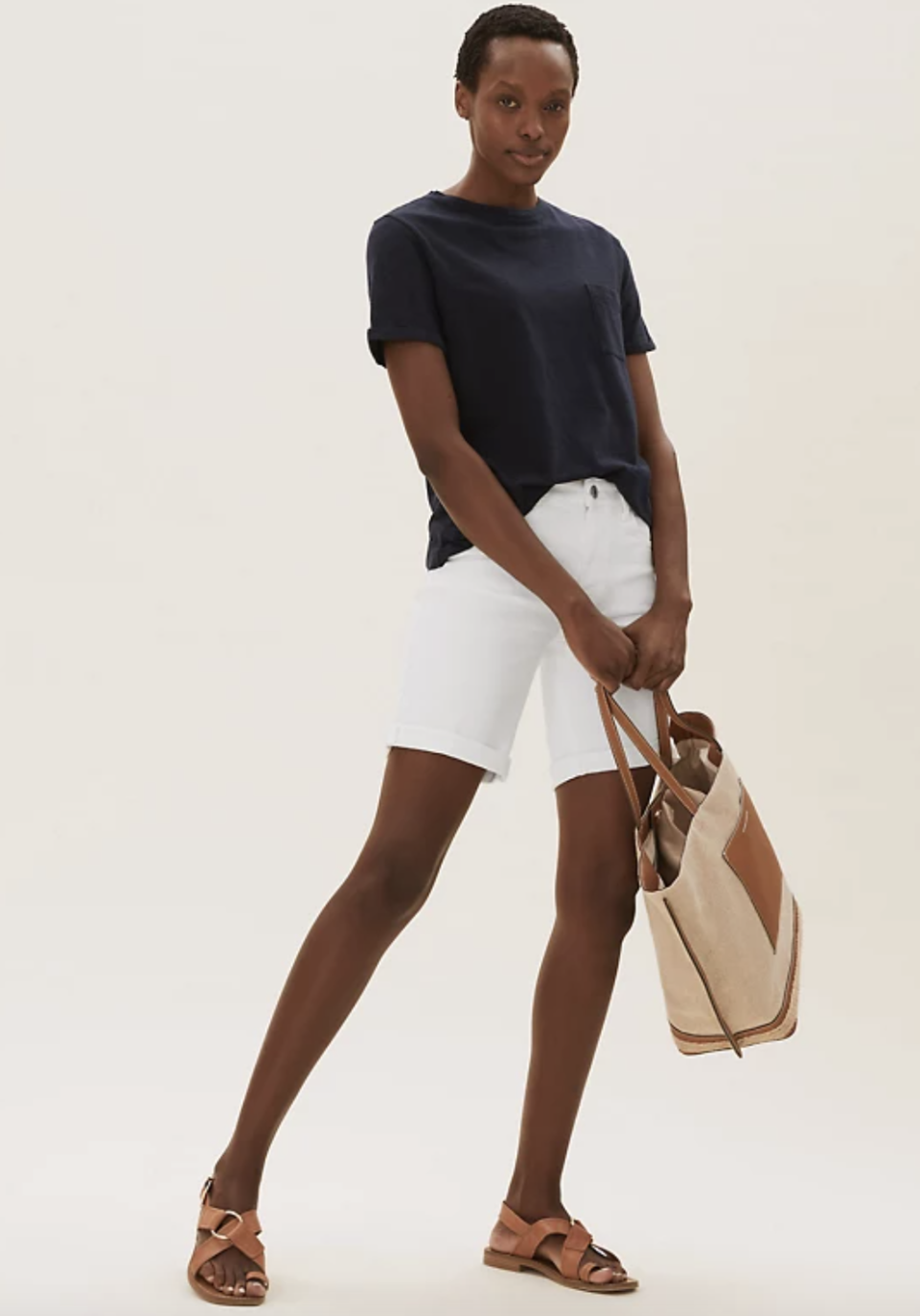 Pair with a t-shirt, shirt, or smart blouse, trainers, or flat sandals, these denim shorts are a wardrobe essential. (M&S)