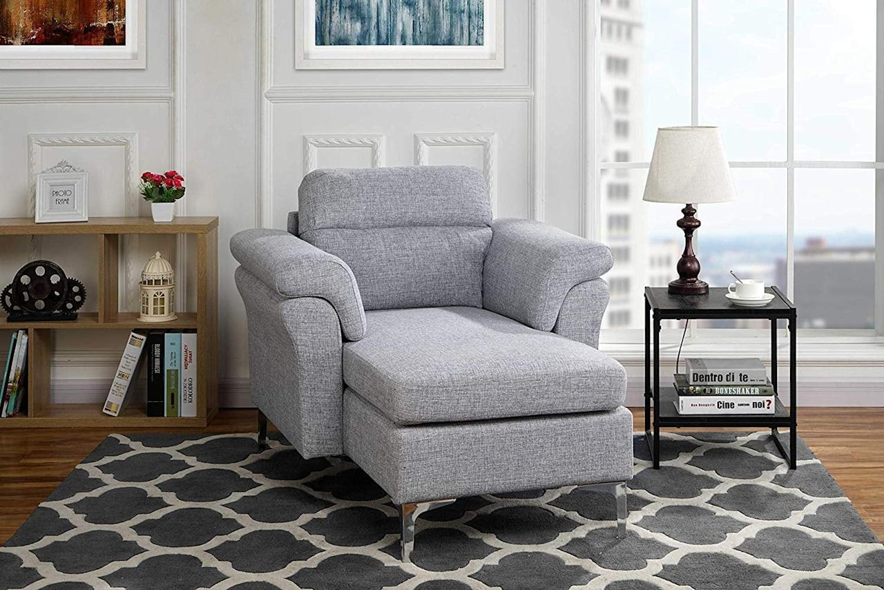 """<p>This <a href=""""https://www.popsugar.com/buy/Modern-Living-Room-Linen-Fabric-Chaise-Lounge-493063?p_name=Modern%20Living%20Room%20Linen%20Fabric%20Chaise%20Lounge&retailer=walmart.com&pid=493063&price=180&evar1=casa%3Aus&evar9=45851020&evar98=https%3A%2F%2Fwww.popsugar.com%2Fphoto-gallery%2F45851020%2Fimage%2F46689616%2FModern-Living-Room-Linen-Fabric-Chaise-Lounge&list1=home%2Chome%20decor%2Cfurniture%2Cwalmart%2Chome%20shopping&prop13=api&pdata=1"""" rel=""""nofollow"""" data-shoppable-link=""""1"""" target=""""_blank"""" class=""""ga-track"""" data-ga-category=""""Related"""" data-ga-label=""""https://www.walmart.com/ip/Modern-Living-Room-Linen-Fabric-Chaise-Lounge-with-Arm-Rests-Light-Grey/366053134?athcpid=366053134&amp;athpgid=athenaItemPage&amp;athcgid=null&amp;athznid=PWVAV&amp;athieid=v0&amp;athstid=CS020&amp;athguid=dfe52c51-b7b-16d5064133e930&amp;athancid=null&amp;athena=true"""" data-ga-action=""""In-Line Links"""">Modern Living Room Linen Fabric Chaise Lounge</a> ($180) is the best of both worlds. It's a nice chair for the living room but folds out into a twin-size bed for guests.</p>"""