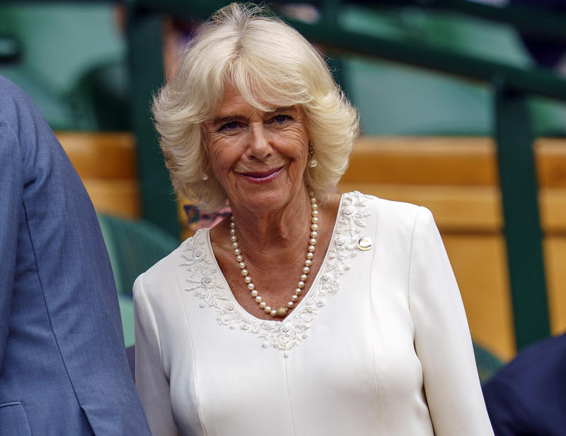 Jul 10, 2019; London, United Kingdom; HRH The Duchess of Cornwall, Camilla Parker-Bowles in attendance for the Novak Djokovic (SRB) and David Goffin (BEL) match on day nine at the All England Lawn and Croquet Club. Mandatory Credit: Susan Mullane-USA TODAY Sports