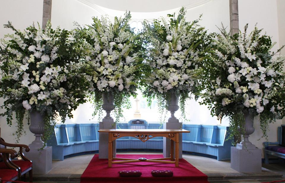 Flowers inside Canongate Kirk in Edinburgh where the wedding of Zara Phillips and Mike Tindall took place.   (Photo by David Cheskin/PA Images via Getty Images)