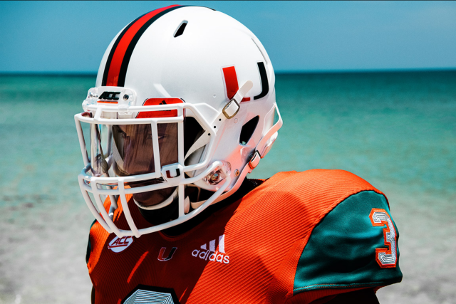 The University of Miami unveiled its new Adidas x Parley A1 uniforms Monday. (The University of Miami and Adidas)