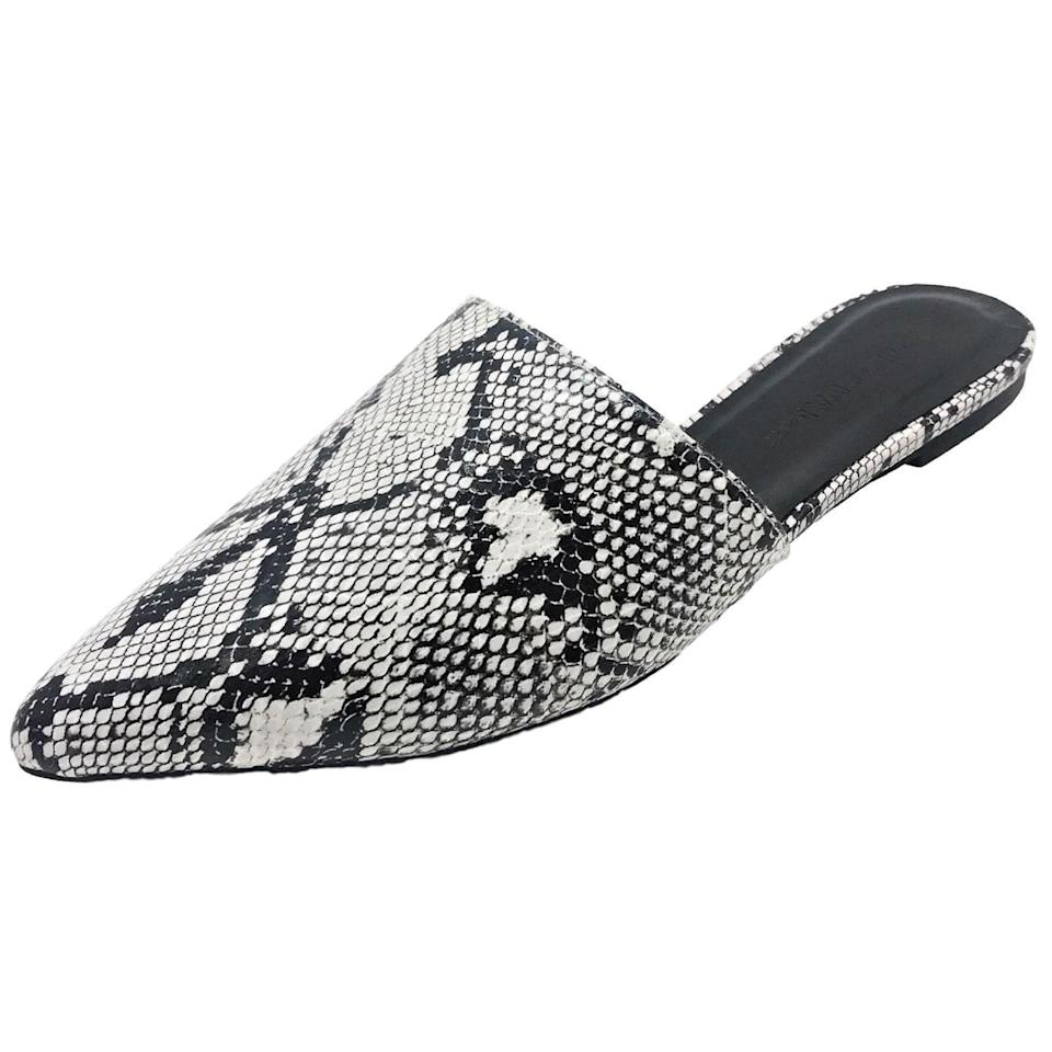 "<p>Get in on the animal print trend with these <a href=""https://www.popsugar.com/buy/Wild-Diva-Snake-Print-Flats-469300?p_name=Wild%20Diva%20Snake%20Print%20Flats&retailer=walmart.com&pid=469300&price=21&evar1=fab%3Aus&evar9=46390837&evar98=https%3A%2F%2Fwww.popsugar.com%2Ffashion%2Fphoto-gallery%2F46390837%2Fimage%2F46391260%2FWild-Diva-Snake-Print-Flats&list1=shopping%2Cshoes%2Cflats%2Cwalmart%2Caffordable%20shopping&prop13=mobile&pdata=1"" rel=""nofollow"" data-shoppable-link=""1"" target=""_blank"" class=""ga-track"" data-ga-category=""Related"" data-ga-label=""https://www.walmart.com/ip/Women-Pointed-Toe-Slip-On-Kitten-Low-Heel-Mules-Flats-Pumps-Slides-Snake-Print-Skin-Celica-01/791075906"" data-ga-action=""In-Line Links"">Wild Diva Snake Print Flats</a> ($21).</p>"