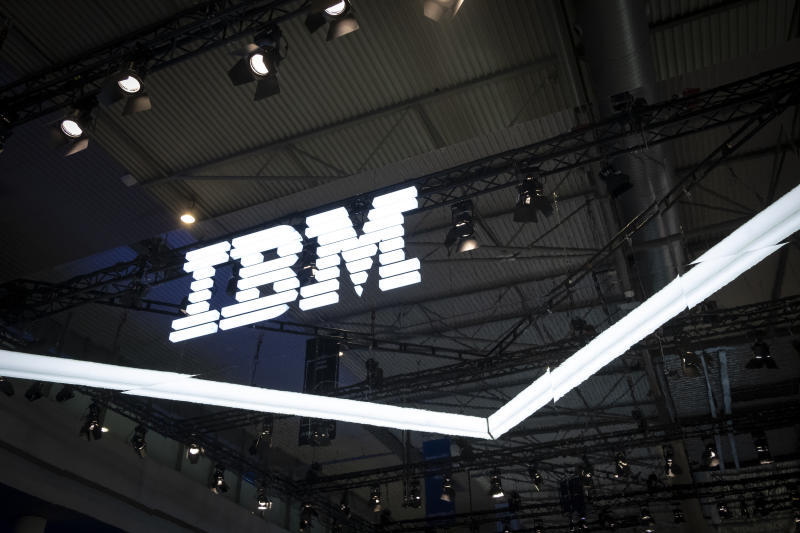 The IBM logo is seen during MWC 2019.The MWC2019 Mobile