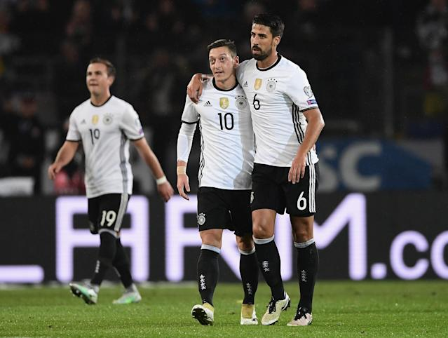 Germany's Mesut Ozil and Sami Khedira will be two of many Muslim stars at the 2018 World Cup. (Getty)