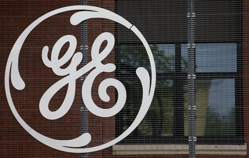 The logo of US conglomerate General Electric is pictured at the company's site in Belfort