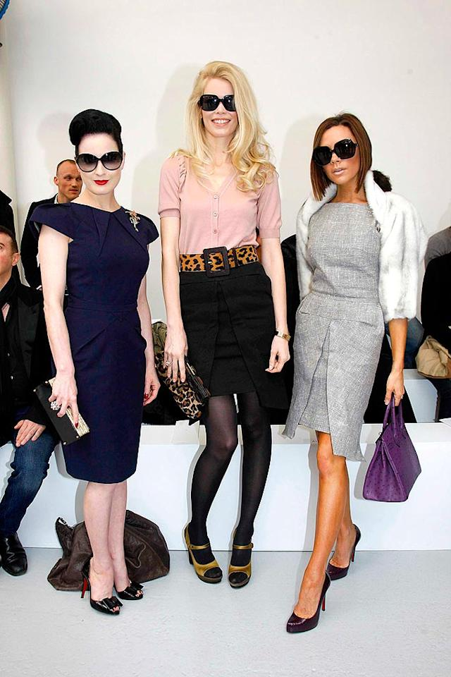 """The more fashion-inclined jet setters were in The City of Lights for Paris Fashion Week. Among the notable (and sunglasses-adorned) attendees were Dita Von Teese, Claudia Schiffer, and Victoria Beckham. KCSPresse/<a href=""""http://www.splashnewsonline.com"""" target=""""new"""">Splash News</a> - January 23, 2008"""