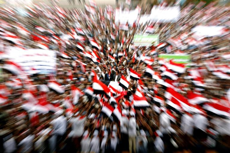 Supporters of the rebel Huthis and ex-president Ali Abdullah Saleh mark two years since the Saudi-led coalition intervened in Yemen, in Sanaa on March 26, 2017