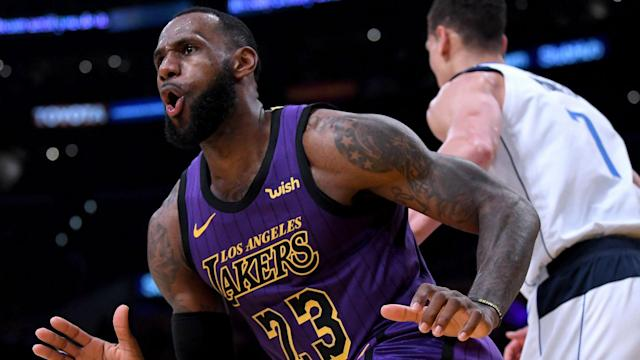 Luka Doncic stunned LeBron James with a double block but the Los Angeles Lakers superstar exacted his revenge on the next play.