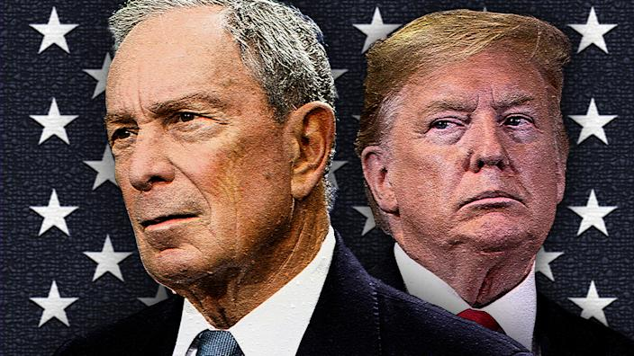 Michael Bloomberg and President Trump. (Photo illustration: Yahoo News; photos: AP)