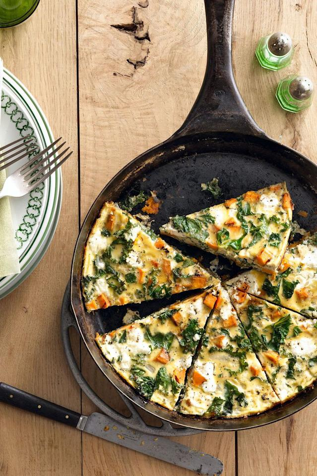 "<p>It's easy to get your veggies in with this sweet potato and kale frittata. Enjoy it for breakfast, lunch, or dinner - the choice is yours.</p><p><strong><a rel=""nofollow"" href=""https://www.womansday.com/food-recipes/food-drinks/recipes/a39769/sweet-potato-kale-frittata-recipe-clx0914/"">Get the recipe. </a></strong></p><p><strong>What you'll need: </strong>Iron skillet ($10, <a rel=""nofollow"" href=""https://www.amazon.com/Lodge-Skillet-Pre-Seasoned-Skillet-Stovetop/dp/B00008GKDG/"">amazon.com</a>)<strong></strong></p>"