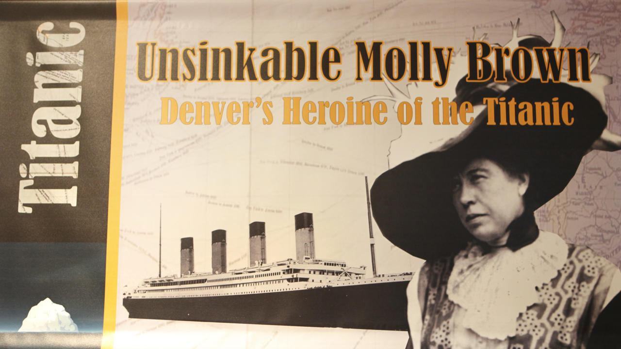 "This March 19, 2012 photo shows a banner on display in the Molly Brown House Museum in Denver. A few blocks from Colorado's state Capitol _ over 1700 miles from the Atlantic Ocean and a mile above sea level _ is a museum dedicated to a woman eclipsed by legend following the sinking of the Titantic. The ""unsinkable Molly Brown"" moved into this stone Victorian home after she and her husband struck it rich at a gold mine in Colorado's mountains, nearly 20 years before she boarded the Titanic because it was the first boat she could get back home to visit her ailing grandson. (AP Photo/Ed Andrieski)"