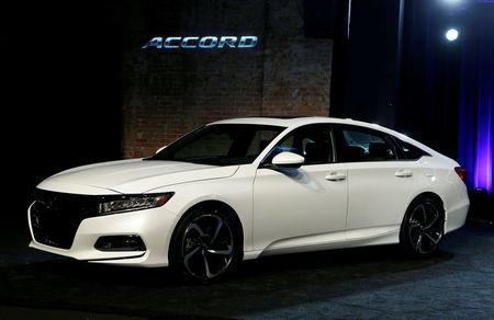 FILE PHOTO:    American Honda Motor introduces the 2018 Honda Accord at the Garden Theater in Detroit, Michigan, U.S., July 14, 2017.   REUTERS/Rebecca Cook/File Photo