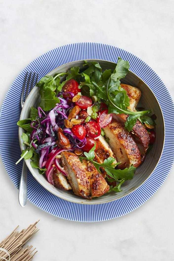 "<p>Sweet 'n' tangy Moroccan chicken for dinner? You betcha. This is loaded with fiber and antioxidants from a slew of tasty veggies.</p><p><strong><a href=""https://www.womansday.com/food-recipes/food-drinks/recipes/a61042/moroccan-chicken-bowl-recipe/"" rel=""nofollow noopener"" target=""_blank"" data-ylk=""slk:Get the recipe."" class=""link rapid-noclick-resp"">Get the recipe.</a></strong><br></p>"