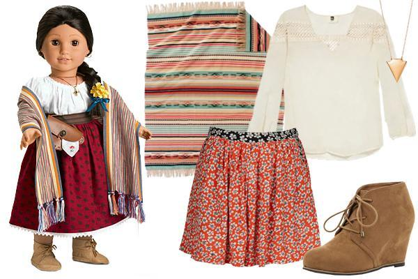 """<div class=""""caption-credit""""> Photo by: Courtesy of American Girl</div><b>Josefina Montoya</b> (1824) - From her camisa down to her moccasins, Josefina's clothing was loose and comfortable. Today, we might translate her getup with Chinle patterns and bohemian wares like flouncy, live-in shorts and a cropped top. Let a gold arrow pendant and a colorful throw blanket replace Josefina's long, fringe rebozo and jewelry, both of which were special to her, among the other articles she collected. <br>"""