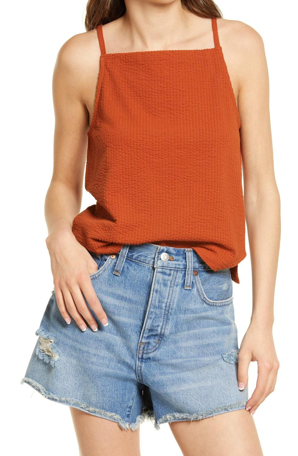 <p>This <span>Madewell Seersucker Apron Tank</span> ($40) makes a colorful and comfy addition to your wardrobe.</p>