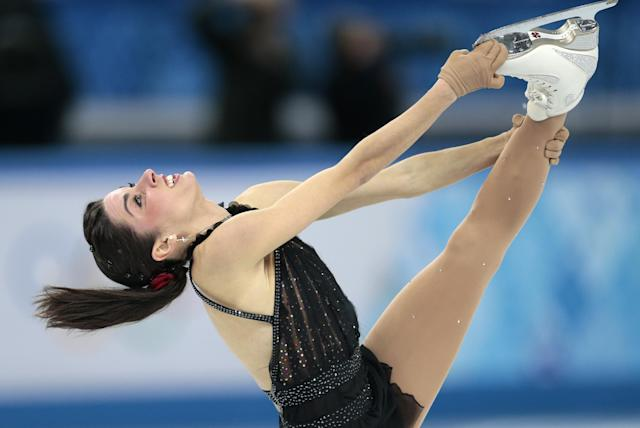 Valentina Marchei of Italy competes in the women's free skate figure skating finals at the Iceberg Skating Palace during the 2014 Winter Olympics, Thursday, Feb. 20, 2014, in Sochi, Russia. (AP Photo/Ivan Sekretarev)