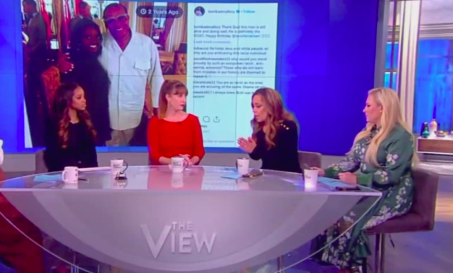 "Women's March co-presidents, from left, Tamika Mallory and Bob Bland appeared on ""The View"" Monday — and faced a grilling from Sunny Hostin and Meghan McCain. (Photo: The View)"