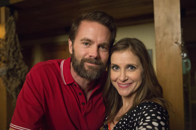 Garret Dillahunt and Kellie Martin on set of 'The Guest Book.'