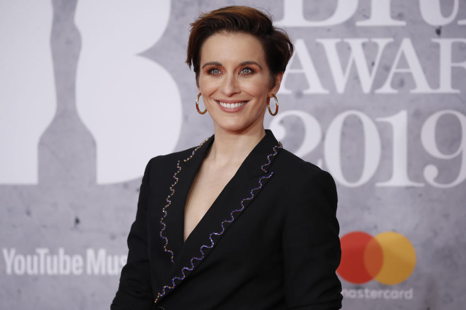 British actor Vicky McClure poses on the red carpet on arrival for the BRIT Awards 2019 in London on February 20, 2019. (TOLGA AKMEN/AFP/Getty Images)