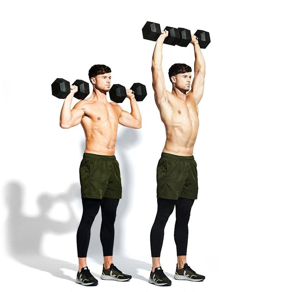 <p>Take a deep breath and curl the weights up to your shoulders, turning your palms to face forward (<strong>A</strong>). Tense your core and extend your elbows to press the bells overhead (<strong>B</strong>). Lower the weights down under control and go again.</p>