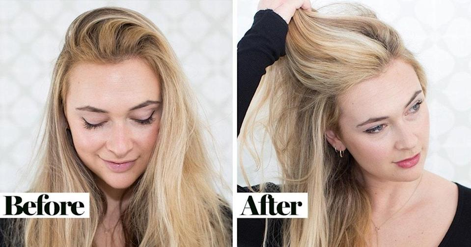 Before and after fixing my brassy hair