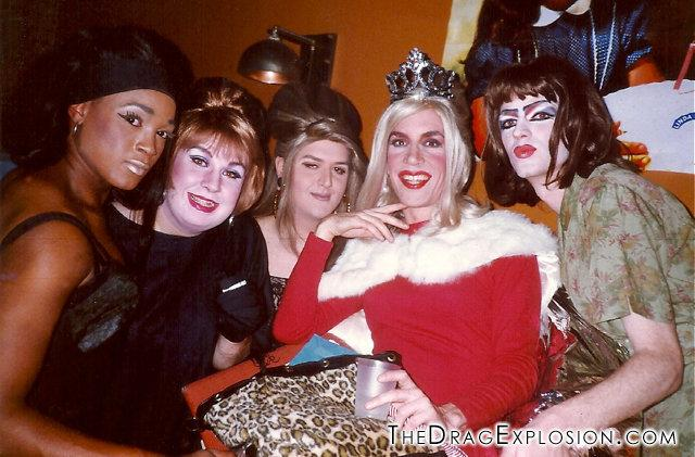 Afrodite, Sweetie, Faux Pas, Linda and Flloyd at the Building in 1991. (Linda Simpson -- The Drag Explosion)