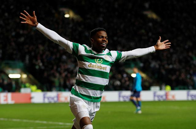 Soccer Football - Europa League Round of 32 First Leg - Celtic vs Zenit Saint Petersburg - Celtic Park, Glasgow, Britain - February 15, 2018 Celtic's Charly Musonda celebrates after Callum McGregor scores their first goal Action Images via Reuters/Lee Smith