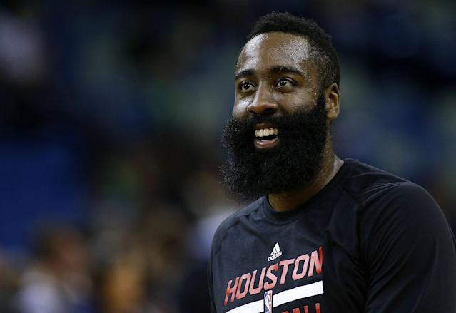 James Harden likes what he's hearing. (Getty Images)