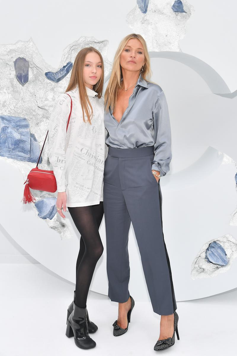 Kate Moss with her daughter Lila Grace Moss Hack attend the Dior Homme Menswear Spring Summer 2020 show as part of Paris Fashion Week on June 21, 2019 in Paris, France.
