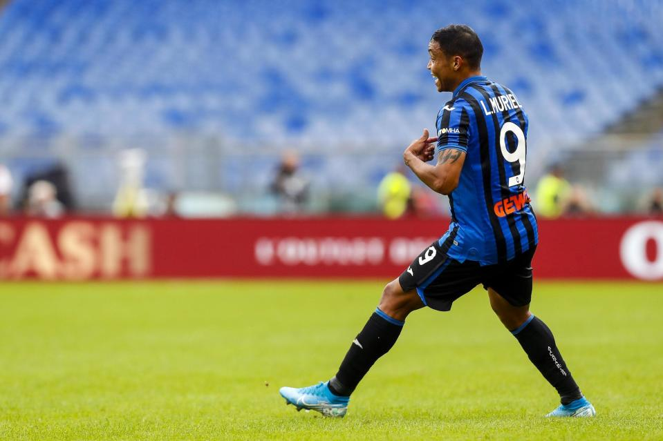 Atalanta's Luis Muriel celebrates after scoring during the Serie A soccer match between Lazio and Atalanta at the Rome Olympic stadium, Saturday, Oct. 19, 2019. (Angelo Carconi/ANSA via AP)