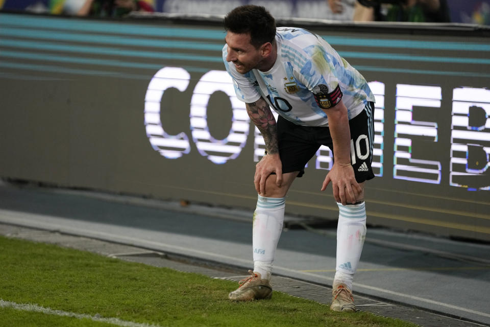 Argentina's Lionel Messi reacts at the end of a Copa America soccer match against Chile at the Nilton Santos stadium in Rio de Janeiro, Brazil, Monday, June 14, 2021. The match ended 1-1. (AP Photo/Ricardo Mazalan)