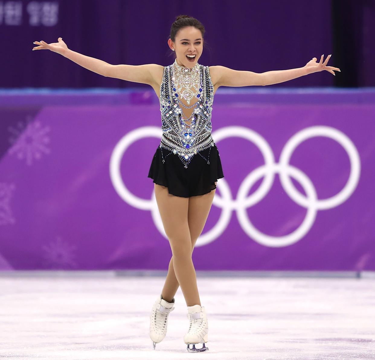 Craine, of Australia, kind of took sparkle to a new level with this costume, which she wore for her free skate during the ladies single competition. There's a lot going on with that bodice, but she looked so confident and happy wearing it, which makes us love it.