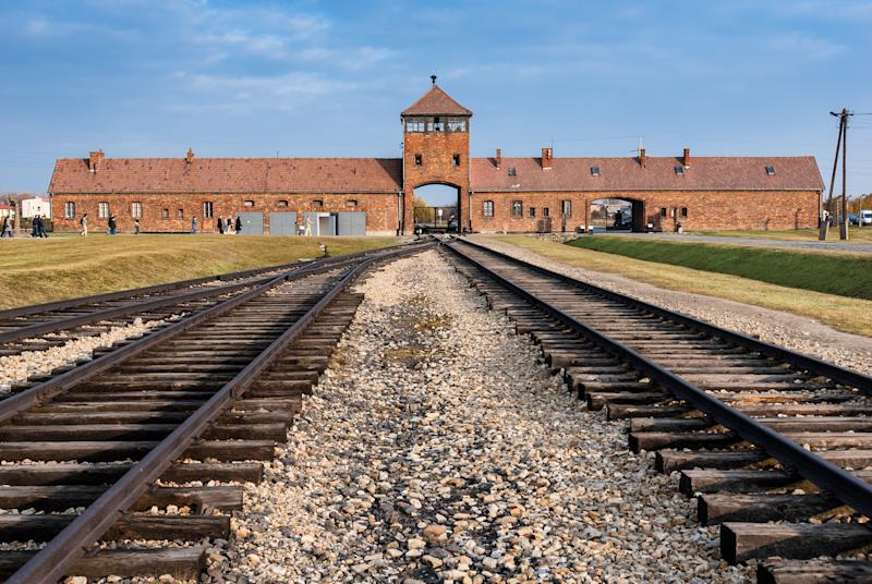 Oswiecim, Poland - October 28, 2007: The entrance of the notorious Auschwitz II-Birkenau, a former Nazi extermination camp and now a museum on October 28, 2007 in Oswiecim, Poland