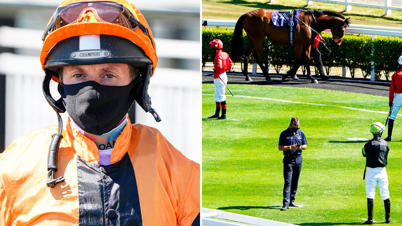Jockeys, pictured here wearing face masks and maintaining their social-distancing at the Newcastle Races.