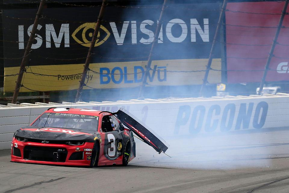 LONG POND, PENNSYLVANIA - JUNE 02: Austin Dillon, driver of the #3 Dow Chevrolet, is involved in an on-track incident during the Monster Energy NASCAR Cup Series Pocono 400 at Pocono Raceway on June 02, 2019 in Long Pond, Pennsylvania. (Photo by Chris Trotman/Getty Images)