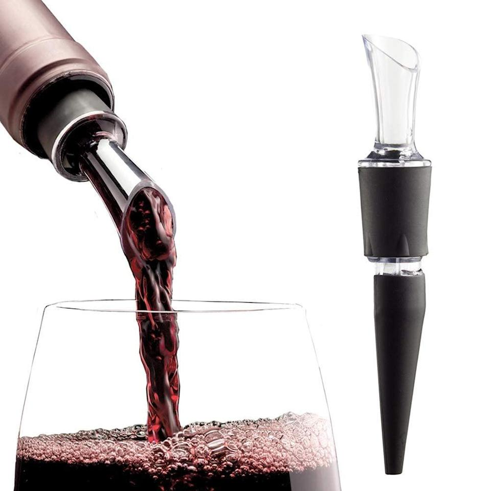 <p>Instead of waiting for your favorite red wine to breathe, just use this <span>AeraWine Infusion Wine Aerator</span> ($13).</p>