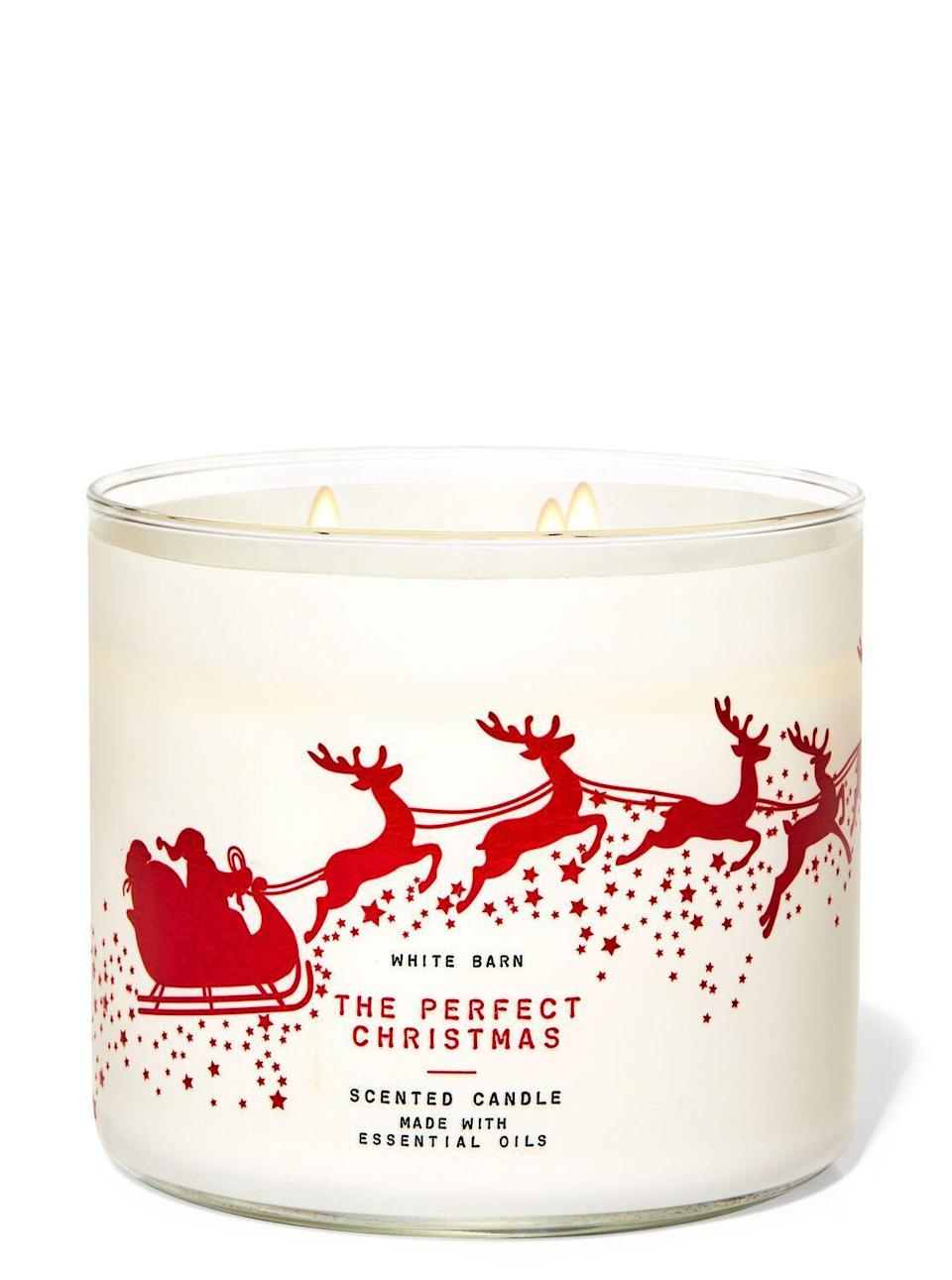 "<p><strong>Bath & Body Works</strong></p><p>bathandbodyworks.com</p><p><strong>$24.50</strong></p><p><a href=""https://www.bathandbodyworks.com/p/the-perfect-christmas-3-wick-candle-026178233.html"" rel=""nofollow noopener"" target=""_blank"" data-ylk=""slk:Shop Now"" class=""link rapid-noclick-resp"">Shop Now</a></p><p>Guys, it's the perfect Christmas! I'm not kidding! She has every smell of the holiday season! Go, go SPEND YOUR MONEY and have everything smell objectively wonderful. Even the Scroogiest of the Christmas Scrooges will literally melt. I can't wait to finish it so I can buy it again and again and again. </p><p>I tried out this candle after a particularly terrible day at work and I swear it was just like that scene where the Grinch's heart grew three sizes. </p>"