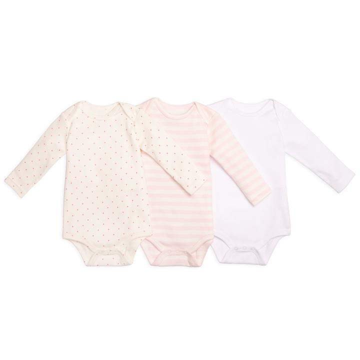 Mixed Long Sleeve Babysuit 3 Pack